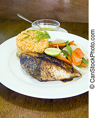 yellowfin tuna steak with vegetables rice - fresh Caribbean...