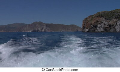 eolian island sea wake 01 - Boat wake on mediterranean sea,...