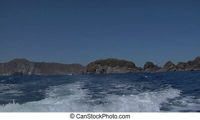eolian island sea wake 02 - Boat wake on mediterranean sea,...