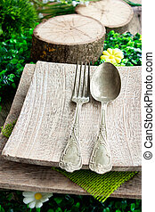 Rustic table setting - Restaurant menu series. Easter place...