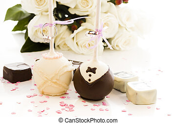 Cake Pops - Chocolate cake pops decorated for wedding party.