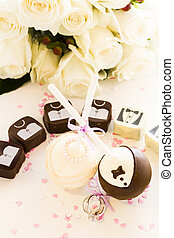 Cake Pops - Chocolate cake pops decorated for wedding party