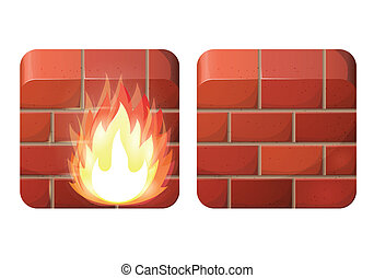 Firewall - Brick wall. Firewall. iOS style icons.