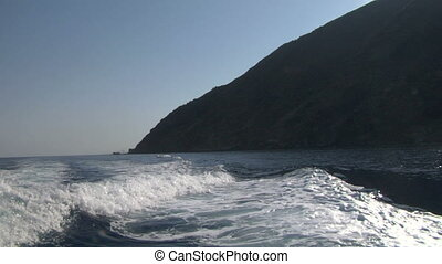 eolian island sea wake 04 - Boat wake on mediterranean sea,...