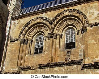 Jerusalem Holy Sepulcher fronton 2012 - Fronton of Church of...