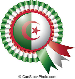Algeria rosette flag - Algeria detailed silk rosette flag,...
