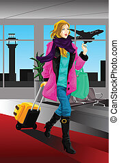Traveling woman - A vector illustration of a traveling woman...
