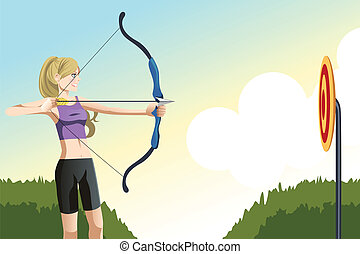 Archer woman - A vector illustration of an archer woman...