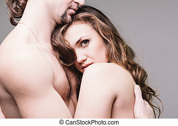 Gentle relationship - Portrait of young couple in gentle...