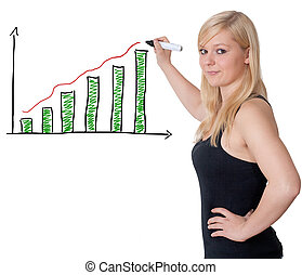Diagram chart - blonde woman is drawing a diagram chart