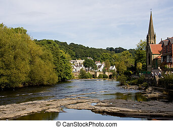 Llangollen river and town - View of Llangollen in Wales from...