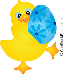 Duckie Carrying Easter Egg Illustration - Yellow Duckie...