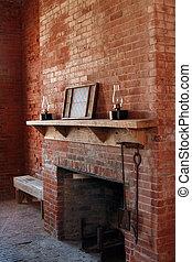 Vintage brick fireplace
