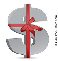 dollar currency symbol and ribbon