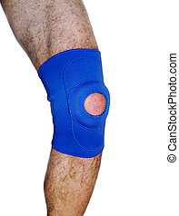 Trauma of knee in brace. Isolated on white.
