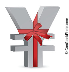 yen currency symbol and ribbon