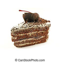 Black Forest Cake Slice Isolated on a White Background