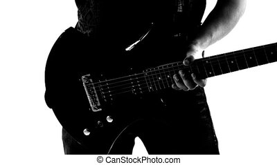 Guy with a guitar - Guy holding guitar. Black and white...