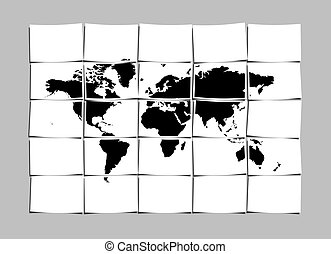 World Map Concept of Separated Note Papers Abstract...