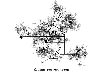 City Blue Prints Abstract Background in Black and White