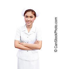 Female Asian Nurse on white