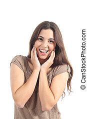 Euphoric woman expression with her hands on the face