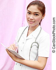 female nurse writing medical report on white background -...