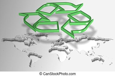 Recycling symbol and world