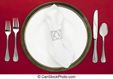 48 dinner setting - Dinner setting in a top view image