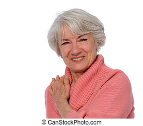 Senior Smiling - Senior citizen smiling isolated over a...