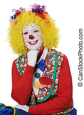Clown with Yellow Hair Smiling