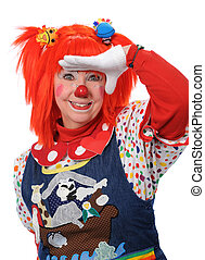 Clown Looking Ahead - Clown looking ahead gesturing with...