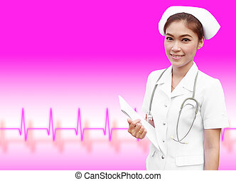 young nurse holding medical report with pulse background