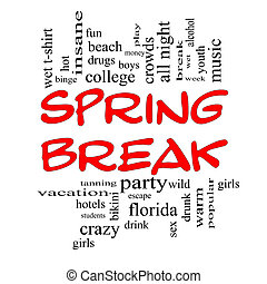 Spring Break Word Cloud Concept in Red Caps with great terms...