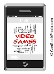 Video Games Word Cloud Concept on Touchscreen Phone