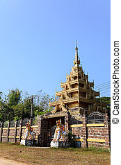 burmese style temple gate in lampang, thailand