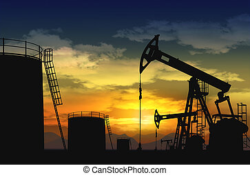 oil pump jack and oil tank silhouette