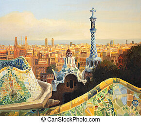 Barcelona Park Guell - An oil painting on canvas of...