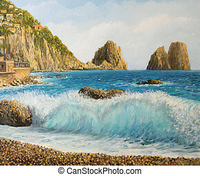 Faraglioni on Island Capri - An oil painting on canvas of a...