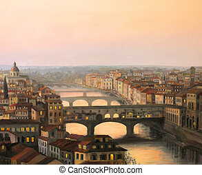 Florence Sunset Over Ponte Vecchio - An oil painting on...