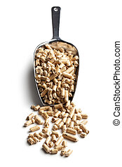 Wooden pellets -bio fuel - Wooden pellets -bio fuel on scoop...
