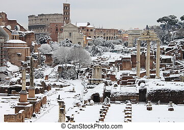 The Roman Forum under snow in Rome, Italy