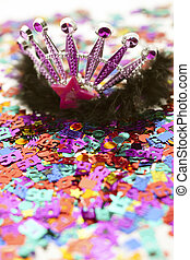 crown on birthday decoration - Close-up image of beautiful...