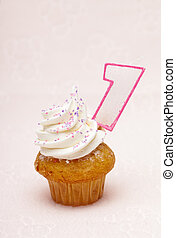 image of a cupcake with number one candle