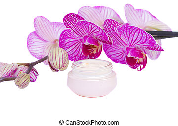 moisturizer cream and orchid flower
