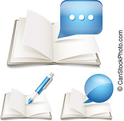 Open paper book with pen and speech clouds collection
