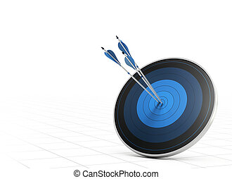 Performance Concept, Arrow and Target - Three blue arrows...