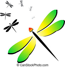 Vector image of an dragonfly on a white background