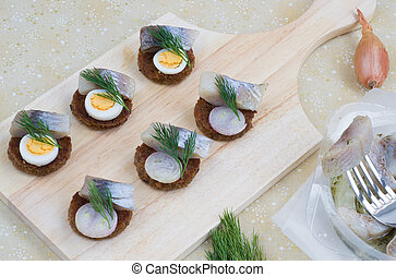 Canapes with herring