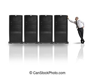 Businessman with server - Businessman in datacenter server...